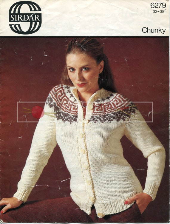 "Lady's Jacket 32-38"" Chunky Sirdar 6279 Vintage Knitting Pattern PDF instant download"