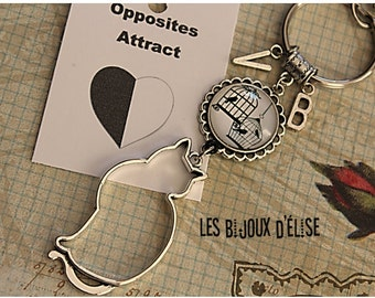 Personalized Black And White Bird and Cat Keychains Oposites Attract Best Friends Keychain His and Hers Couple Keychain