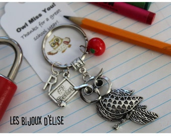 Sale - Personalized Number One Teacher Charms Keychain Antique Silver Thank You Keychain Owl Keychain - Number One Teacher