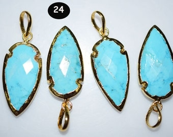 4 pc TURQUOISE magnesite small arrowhead, Arrowhead pendant , turquoise magnesite Arrow Pendant with Electroplating  , code : 24