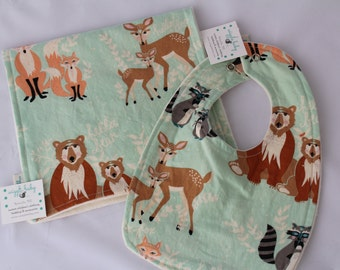 Hello Bear Baby Bib and Burp Cloth Set, Newborn Gift, Baby Shower Gift