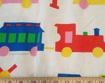 Train Railroad ~ Red Blue Green Yellow Primary Colors ~ Vintage Retro Juvenile Children Boy ~ Curtains Drapes ~ 1984 Bibb Company PAIR