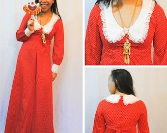 Red Maxi Dress - Polka Dot Dress Red Dress Red Polka Dot Dress Vintage Dress Vintage Red Maxi Dress Vintage Maxi Dress Maxi Dress