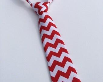 Boys Neck Tie, Infant Tie, Toddler Tie, Red and White Chevron Neck Tie