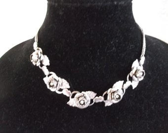 Vintage 1950's Rose Rhinestone and Silver Toned Metal Necklace