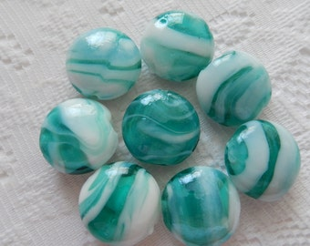 6  Aqua Blue Green & White Swirled Puffed Lampwork Glass Beads  20mm