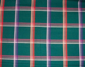 Vintage green plaid fabric