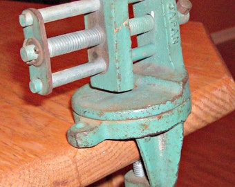 Vintage Green & Red Bench Clamp on Vise