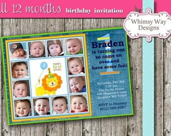 First Birthday Photo Invitation, month photos, 12 months, printable, I customize you print