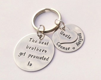 Personalised Uncle gift  - personalised brother gift - The best Brothers get promoted to Uncle - uncle keyring, brother gift, gift for uncle