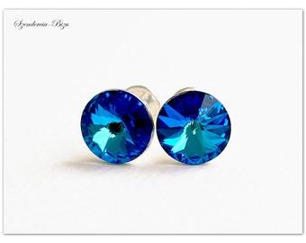 Silver earrings, Swarovski Rivoli, Rivoli 8mm, Bermuda Blue, Rivoli stud earrings, Stud earrings, Crystal stud earrings, Rivoli ear studs