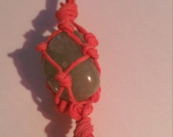 BlueGreen Stone Hemp Wrapped Necklace
