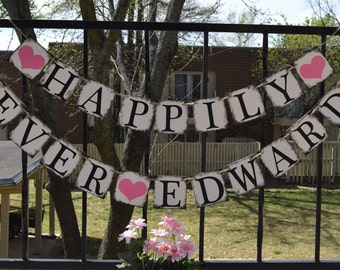 Wedding banner  - HAPPILY EVER AFTER  Bridal Shower Banner -  Engagement Party Decoration - Customize your color