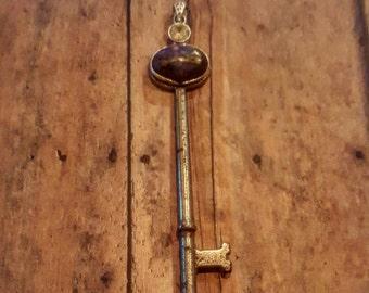 Charity - Vintage Key - Swarovski Crystals - Pendant Key - Boho Jewelry - Hippie Jewelry - Hipster Jewelry