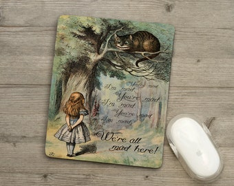 Mousemat - Pad - Alice In Wonderland - We're All Mad Here - Cheshire Cat