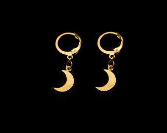 Mini Golden Moon Earrings