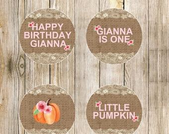 Shabby Chic Pumpkin Custom Cupcake Toppers