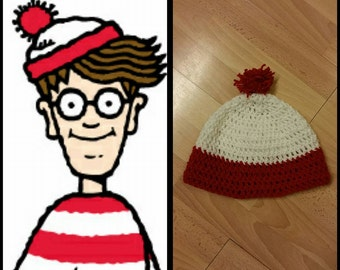 Where's waldo, INSPIRED, crocheted beanie, pom pom, gift (All sizes avaialble)