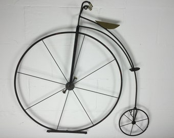 C. Jere High Wheel Penny Farthing Bicycle Mid Century Signed Wall Sculpture Art