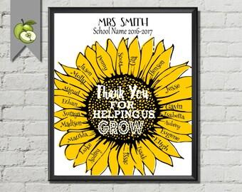 Teacher appreciation, sunflowers, preschool kindergarten, Retirement gift, class names Leaving gift, Digital, printable, co-worker, helper.