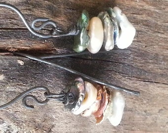 Pearl Earrings / Copper / Handmade / Rustic / Organic / New Season / Copper Jewelry