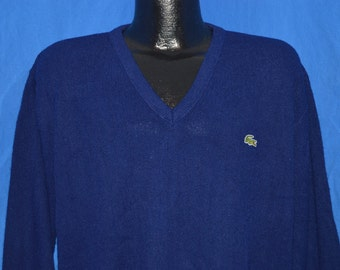80s Izod Lacoste Navy Blue Pullover Alligator Sweater Large