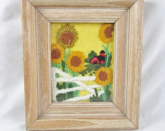 Sunflowers Crewel Embroidery Barn Summer Country Framed Wall Art