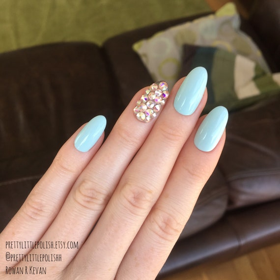 Pastel Blue Swarovski Crystal Oval Nails Swarovski Crystal