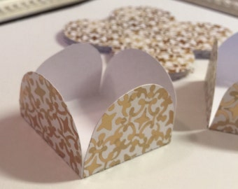 12 Gold/White Cake Pop - Chocolate truffle wrapper papers, liners or favor box.