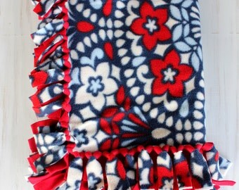 Pet Blanket//Small Tie Blanket - Red, White & Blue