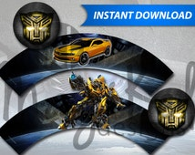 Transformers Bumblebee Cupcake Wrappers - PRINTABLE INSTANT DOWNLOAD