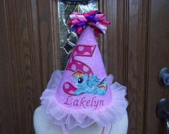 Girls Birthday Hat -  Pony Theme