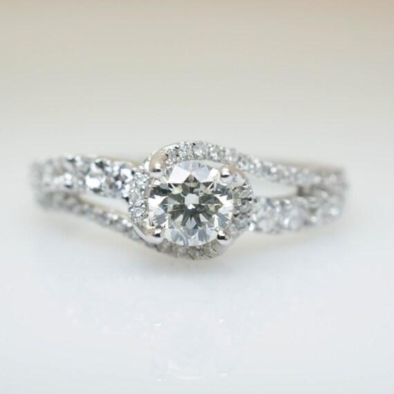 Beautiful Intricate Swirl Diamond Engagement Ring 14k White