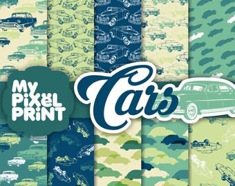 Cars - Blue Green - Travel - Digital Scrapbooking Paper Pack - My Pixel Print