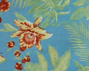 Tropical Upholstery Fabric Vintage Aqua Orchids