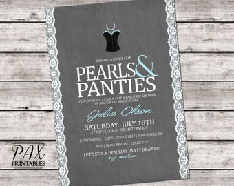 Pearls and Panties Lingerie Shower Invitations - Printable Invites, Lace and Pearls Lingerie Party, Bachelorette Party, Hens Night