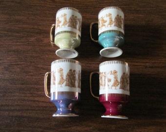 Vintage Royal Crown Arnart Greek Classic Smug Mugs (4) – Made in Japan