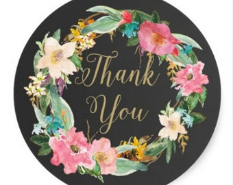 18 Thank you Stickers, Black Floral stickers, chalkboard stickers, Seals, packaging supplies