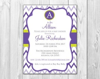 Baby Shower Invitations | Purple and Lime Chevron (8 Invitations and 8 White Envelopes)