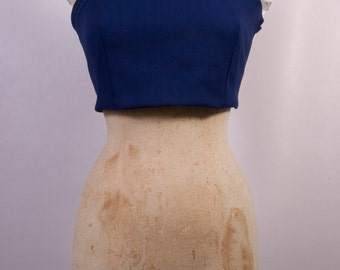 Off the Shoulder Crop Top in Blue