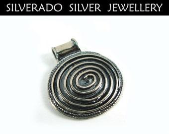 Greek Pendant, Meander Pendant, Spiral Pendant, Circle Of Life, Greek Key, Greek Jewelry, Oxidized Pendant 21x30 mm, Grecian Pendant, Greece