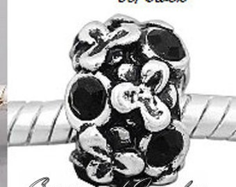 European Charm Bead For All Large Hole Charm Bracelet And Necklace Chain. Crystal-Jet Black-Flowers-8x12mm