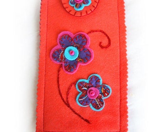Eyeglasses Case, Orange Felt Spectacle Case with Purple Paisley Fabric Flowers, Reading Glasses or Sunglasses Pouch, Personalized Gift Idea
