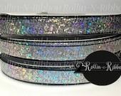 3/8 inch Silver Laser Foil on Black Grosgrain Ribbon 5y yard roll