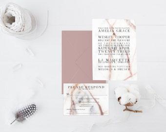 Marble Wedding Invitations | modern font | Gold foil