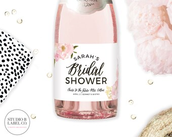 Bridal Shower Favor Mini Champagne Labels - Personalized Sticker Labels - Bridal Shower Wine Champagne Labels - Celebrate the Bride to Be
