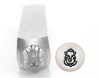 Ganesha design metal stamp 6mm metal punch