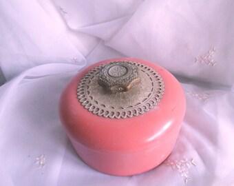 Vintage Avon, Peach Color, Plastic box, Unforgettable, Beauty Dust