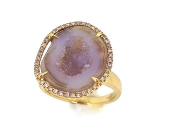 14k Geode and Diamond Ring