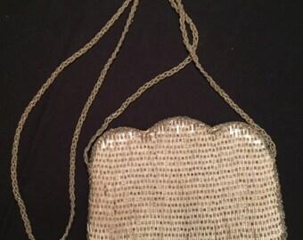 Evening shoulder bag - Shimmering  white beaded - vintage